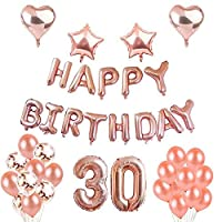 Weimi 30th Birthday Decorations Rose Gold for Women Inflating Foil HAPPY BIRTHDAY Banner Star Heart Foil Balloon Confetti Latex Balloons with Clear String for Girls Women Party Supplies