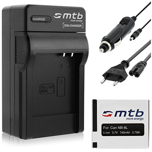 Batteria + Caricabatteria (Auto/Corrente) per Canon NB-8L / PowerShot A2200, A3200 IS, A3300 IS, A3350 IS...