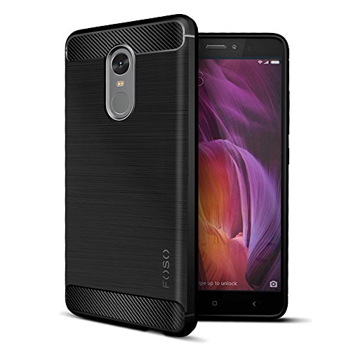 FOSO(™) Carbon Fiber Shock Proof Rugged Armor Case with Metallic Brush Finish For Xiaomi Redmi Note 4 (Carbon Fibre Black)