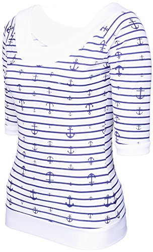 Küstenluder KEITHA Sailor ANCHOR Anker Carmen Raglan SHIRT Rockabilly Navyblau-Weiß