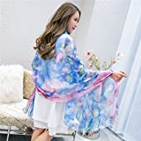 ZHANGYONG Silk scarves, silk scarves, sunshade shawl beach towels and air conditioning shawls in summer, 2 meters of silk scarves,16 printed silk scarf,200CM birthday present