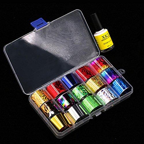 Igemy Nail Art Feuille d'impression 15 couleurs Autocollant pour vernis à ongles Pointe Décoration et étoile Colle Lot de transfert Nail Art Stickers muraux