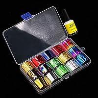 Set de láminas de transferencia para uñas en 15 colores y pegamento Star de IGEMY para uñas artísticas, pegatinas decorativas de transferencia