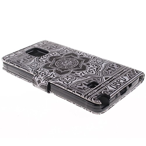 MCHSHOP(TM) Vielzahl von Mustern Book Style Design Leder Tasche Flip Case Cover Schutzhülle Etui Hülle Schale Für Samsung Galaxy Note 4 SM-N910S / SM-N910C mit Kartensteckplätze Standfunktion - 1 Touc Blumen Tribal Aztec (Flower Tribal Aztec)