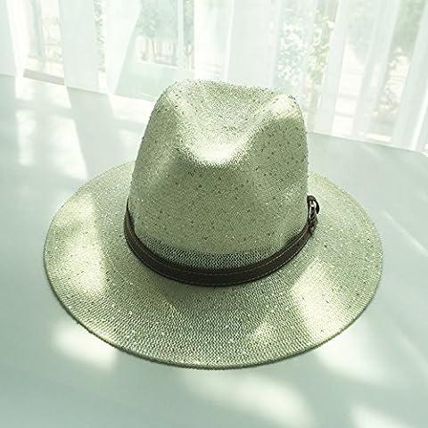 Chapeau chapeau de soleil de printemps et d'été, femme street beat PAC, la mode, la boucle de ceinture de paillettes hat hat jazz anglais, chapeau à large rétro cool, la marée,M (55-58cm), l'ivoire
