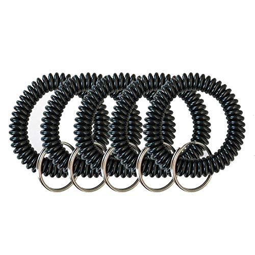 Ogquaton 5 Stück Spirale Handgelenk Spulen Schlüsselanhänger ausziehbar Schlüsselhalterung für Gym Fitness in Form mit robuster Kugelkette aus Edelstahl - Schwarz
