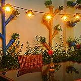 Luces de jardín al aire libre, 8,2 pies G40 + OxyLED Patio de jardín Luces de cuerda al aire libre, Luces de cuerda interiores / exteriores impermeables, Patio de gran terraza exterior Luces de Navidad (7 focos, 2 bombillas de repuesto)