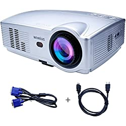 Proyector, Proyectores Full HD LED 3200 Lúmenes 1080P Video Proyector LCD WiMiUS T4 Home Cinema Alta Resolución 1280*800 Altavoz Incorporado con HDMI VGA USB AV SD -Plata