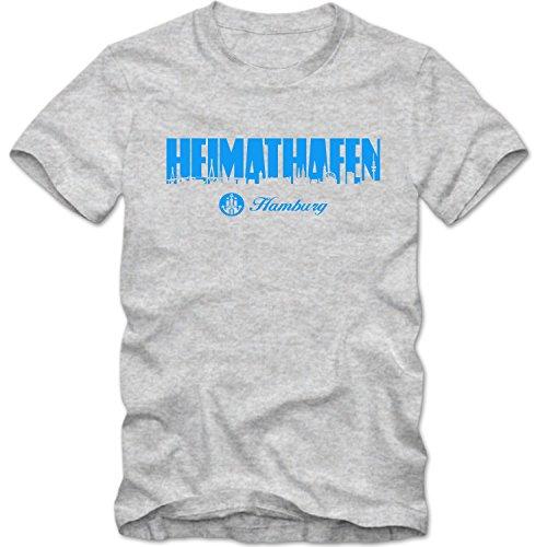 T-Shirt Heimathafen Hamburg FAN St. Pauli Reeperbahn Hafen City Shirt, Farbe:graumeliert/blau;Größe:XL