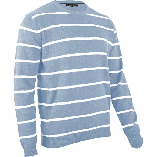 hemmy Herren Pullover Feinstrick V Neck gestreift - hellblau - jeans blau/weiß XL