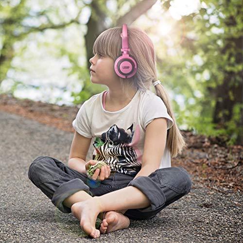 Gusaman Folding Cartoon Kinder Katze Ohr verdrahtet Kopfhörer Ohrhörer Headset Rosa 1.2m#X (2m Ohrhörer)