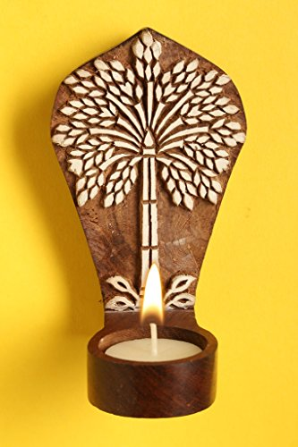 Craftbell Engraved Palm Tree Table Cum Wall Wooden Tealight Holder - T Lights, T Lights Holder, Votive Candle Holder, Hanging Lights, Decorative Lights, Candle Stand, Candle Holder, Decoration Items, Home Decoratives, Table Decor For Home Decor & Gift