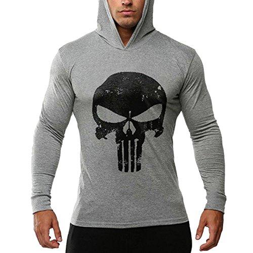 Bold Manner Herren Fitness Kapuzen Langarm Pullover Sport mit Schädel schwarz Rot Weiße Grau