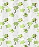 Kleine Wolke 5128148305 Frog - Cortina de ducha (180 x 200 cm), diseño de ranas, multicolor