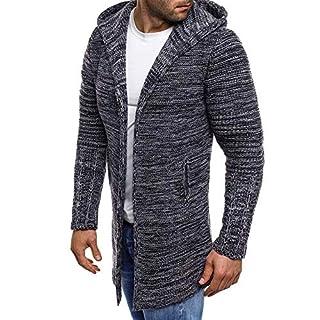 Sannysis Herren Slim Fit Pullover Langarm Mantel Mens Hooded Solid Knit Trenchcoat Jacke Outwear Bluse Mittellange Strickjacke