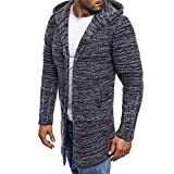 Sannysis Herren Slim Fit Pullover Langarm Mantel Mens Hooded Solid Knit Trenchcoat Jacke Outwear Bluse Mittellange Strickjacke