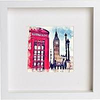 London   il telefono rosso box incorniciato opera//cornice per foto/memorabilia   regalo unico 25x 25cm