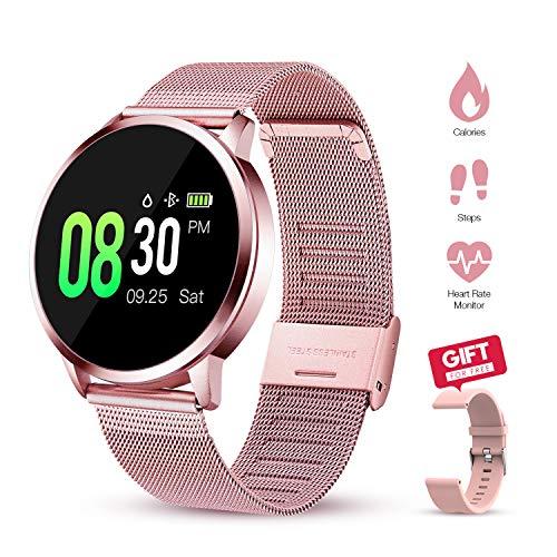 GOKOO Smartwatch Für Damen Frauen mit pulsmesser Fitnessuhr IP67 wasserdichte Fitness Tracker Schrittzähler Kalorienzähler Sportuhr (Rosa)