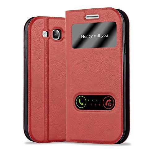 Cadorabo Coque pour Samsung Galaxy S3 / S3 Neo en Rouge Safran - Housse Protection avec Stand Horizontal, Fente Carte et Deux Fenêtres - View Etui Poche Folio Case Cover