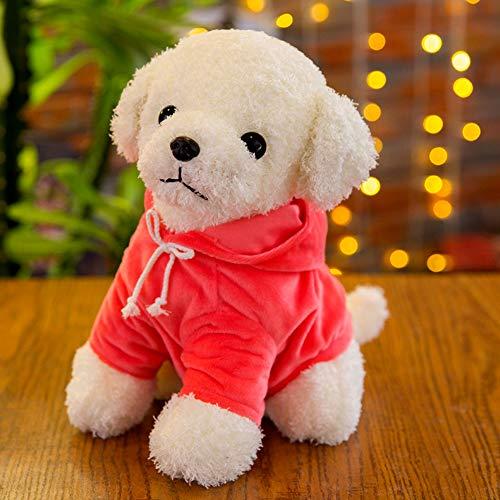SJZC Toy Simulation Teddy Dog Roll Peluche Toy Dog Vestiti Ragdoll Bambino Regalo,Pink,18cm