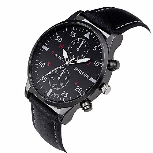 KanLin1986 reloj de pulsera retro, reloj de cuarzo de los hombres con banda de cuero (Negro)