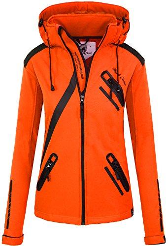 Rock Creek Damen Softshell Jacke Übergangs Jacke Windbreaker Regenjacke Damenjacken Outdoorjacke Windjacke D-371 Orange XL