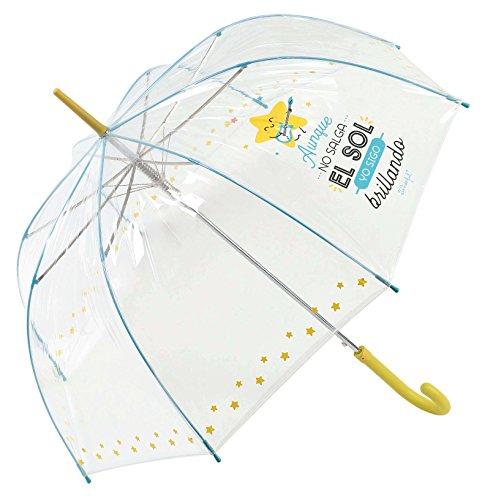 """Paraguas largo transparente Mr. Wonderful """"Aunque no salga el sol yo sigo brillando"""""""