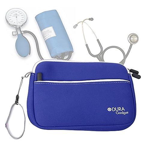 Trousse d'infirmière en bleu pour transporter vos accessoires médicaux (tensiomètre, stéthoscope etc.) + poche latérale, par DURAGADGET