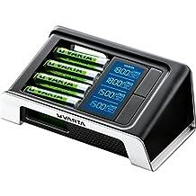 Varta LCD Ultra Fast - Cargador de pilas (NiMH AA y AAA, 4 pilas AA 2400 mAh + adaptador 12 V incluidos)