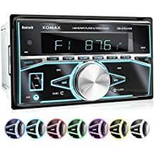 XOMAX XM-2RSU420 Autoradio DIN 2 (doble DIN) Tamaño de montaje estándar + No hay unidad de CD + MOSFET 4x60 vatios + AUX-IN + 7 ajustables colores de iluminación: azul, rojo, amarillo, morado, rosa, verde, blanco, turquesa + WMA + MP3 + USB y Micro SD (128 GB por Medio) + Bluetooth manos libres y música + ISO + antena de radio