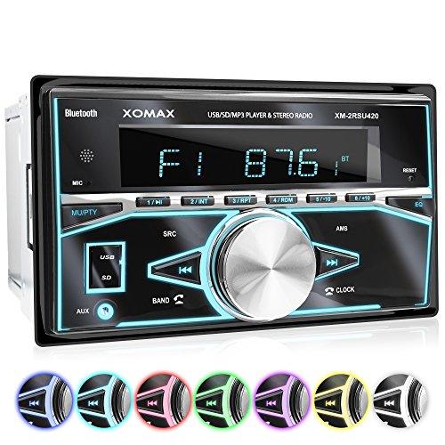 XOMAX XM-2RSU420 Autoradio mit Bluetooth Freisprecheinrichtung, USB, Micro-SD für MP3 und WMA, 7 Farben einstellbar (Rot, Blau, Grün, Gelb, Lila, Weiß, Türkis), AUX-IN, 2x Subwoofer Anschluss, Doppel-DIN 2DIN