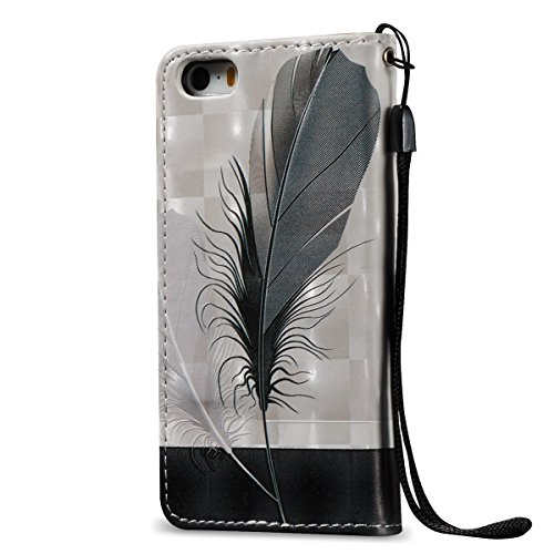 iPhone SE Hülle,iPhone 5S Hülle,iPhone 5 Hülle,iPhone SE/5S/5 Ledertasche Handyhülle Brieftasche im BookStyle,SainCat Rose Muster PU Leder Hülle Wallet Case Folio Schutzhülle Lederhülle Ledercase Scra Feder