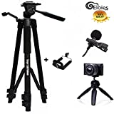 #8: Eloies Simpex Long Lightweight Professional 333B Aluminum 58 inches Tripod kit with Eloies Mini Tripod for DSLR Camera's & Mobile Phones and Microphone for Quality Sound Recording.