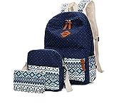 Women Backpack Canvas School Bag For Girls Teenagers Laptop Bag 3pcs/Set(Deep Blue)