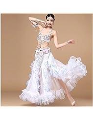 espectáculos de danza del vientre de la mujer bordado exclusivo muestran juego de la ropa , s , white