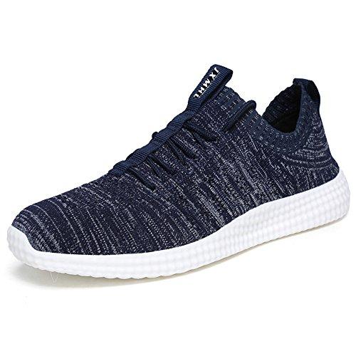 MUOU Schuhe Herren Sneaker Atmungsaktive Freizeitschuhe Lace-Up Männer Turnschuhe Mesh Wohnungen Laufschuhe (43, Blau) (Sneaker-speicher-fall)