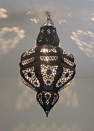 Lustre plafonnier marocain en métal ciselé 70cm lampe boule marocaine lanterne maroc