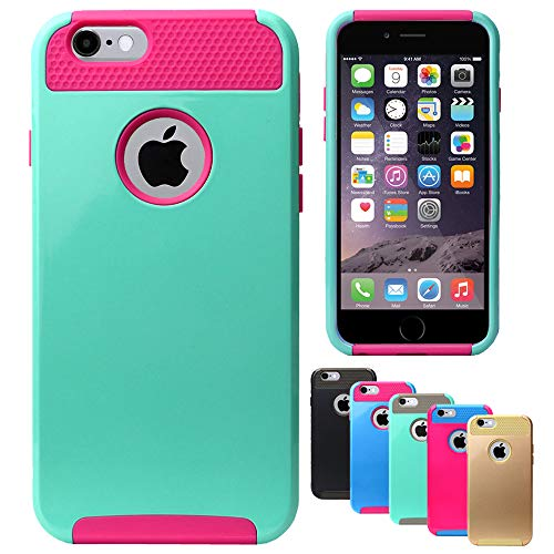 MPG Handyhülle für iPhone 6, iPhone 6S, Hülle Türkis Pink, Schutzhülle Hard-Case Cover [Shockproof, Dual Layer, Hybrid Bumper] Pink Hard Case Cover