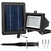 LTE Foco Solar 60 LED Luz Solar Exterior, Impermeable IP65, 300 Lúmenes, Luz Blanca, Lámpara Solar para Jardín, Patios, Cámping