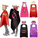 CQDY Costume da Supereroe, Mantello e Maschera, 4 Set per Halloween, Natale, Festa di Compleanno, Regalo per Ragazzi e Ragazze