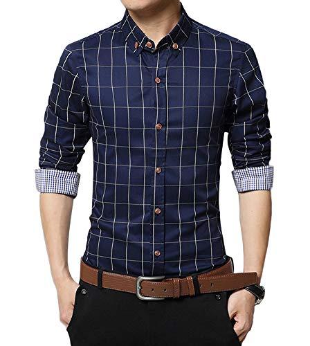 Blau Gestreifte Button-down-shirt (Kuson Herren Hemd Langarm Kariert Freizeit Hemd Baumwolle Button-down Navyblau L)