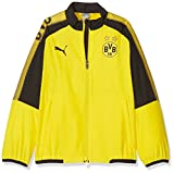 PUMA Kinder BVB Leisure JKT Without Sponsor Logo with 2 Side Pockets wit Jacke, Cyber Yellow Black, 140