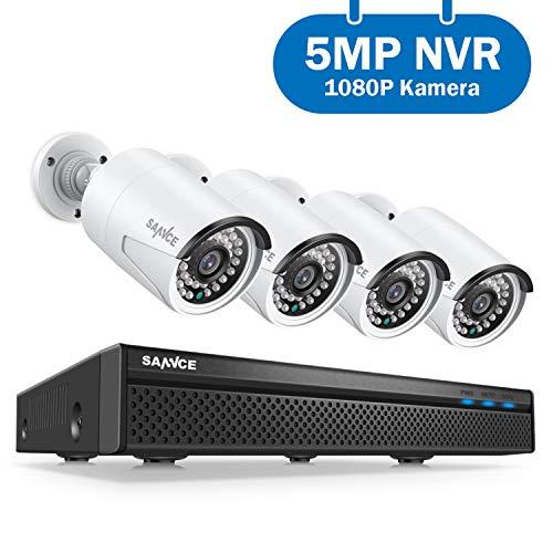 POE Überwachungskamera System,SANNCE Vedioüberwachung 5MP 8CH NVR+4*1080P Wasserdicht Kamera mit Smart IR LEDs,Bewegungserkennung,APP Alarm,Nachtsicht bis zu 30 Meter (Kamera-systeme)