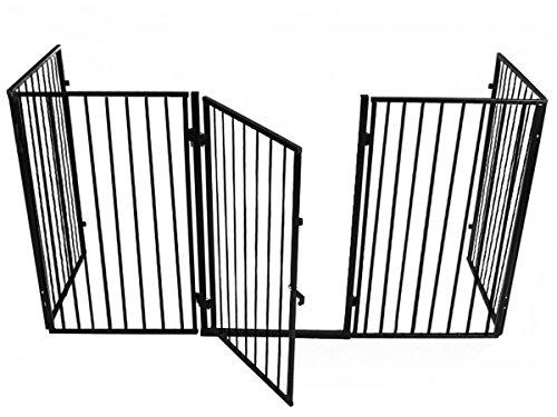 Iso Trade Kaminschutz mit Tür aus Metall Kinderschutzgitter Ofenschutzgitter Absperrgitter #2961