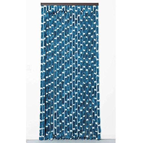 Provence Outillage Rideau Chenille 90 x 220 cm Bleu/Blanc
