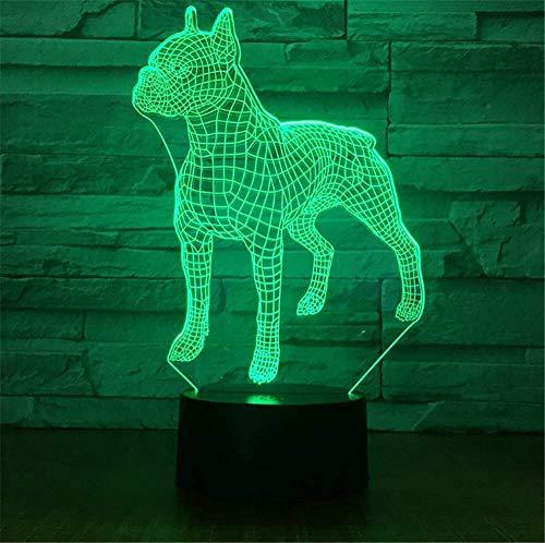 3D Lampe LED Nachtlicht Optische Täuschung 7 Farbwechsel USB Touch Button und Intelligente Fernbedienung Schreibtisch Tisch Beleuchtung Schönes Geschenk Home Office Dekorationen Spielzeug (Pit Bull) - Bull Pit Spielzeug