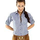 ALMBOCK Trachtenbluse Damen langarm | Karierte Bluse dunkel-blau kariert aus 100% Baumwolle | Festliche Blusen in Größe 34-46