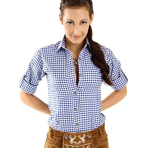 e Damen langarm | Karierte Bluse dunkel-blau kariert aus 100% Baumwolle | Festliche Blusen in Größe 34-46 (Trachten Shirts)
