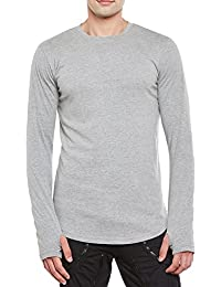 Gritstones Grey Melange Round Neck Full Sleeves Thumbhole T-Shirt For Men GSFSTSHT1505GMEL