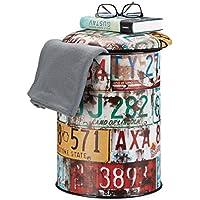 Relaxdays Sitztonne Vintage, bunter Sitzhocker mit Motiv, Autoschilder Collage, Aufbewahrungsbox HxD: 44 x 32 cm, bunt preisvergleich bei kinderzimmerdekopreise.eu